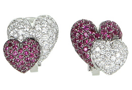 Double Heart Ruby & Diamond Earrings