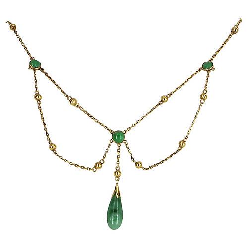 Jadeite Jade Drop Necklace 14k Gold