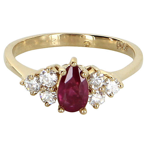 Ruby & Diamond Ring 14k Gold
