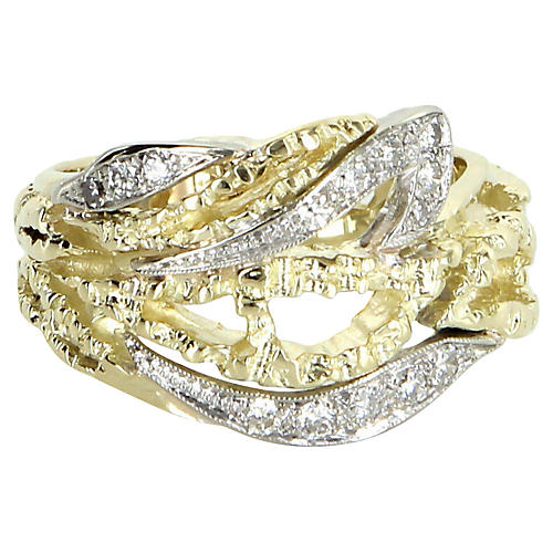 14K Gold Diamond Cigar Ring