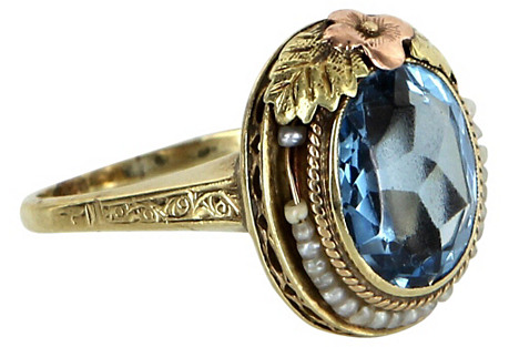 Blue Topaz & Seed Pearl Ring