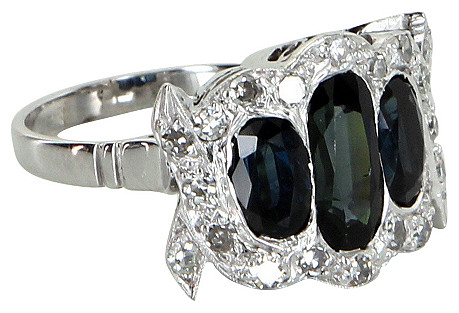 Sapphire & Diamond Platinum Ring