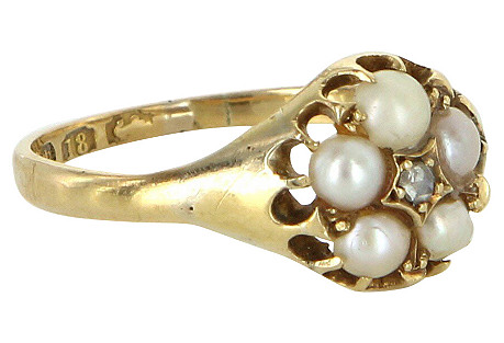 Victorian Diamond & Pearl 18k Gold Ring