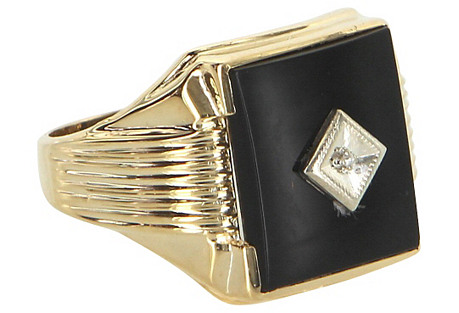Men's Onyx Diamond Ring