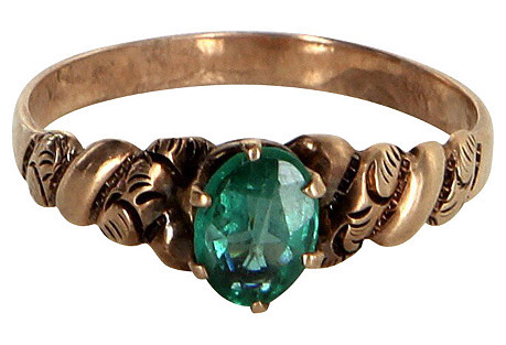 Victorian Green Paste Rose Gold Ring