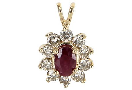 Ruby & Diamond Princess Pendant