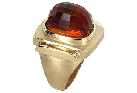 Madeira Citrine & Gold Cocktail Ring