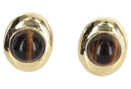 14K Gold & Tigers Eye Earrings