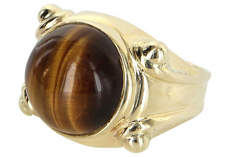 Tigers Eye Cocktail Ring 14k Gold