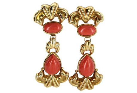 18K Gold & Coral Door Knocker Earrings