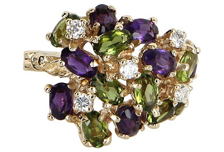 Peridot Amethyst & Diamond Dome Ring