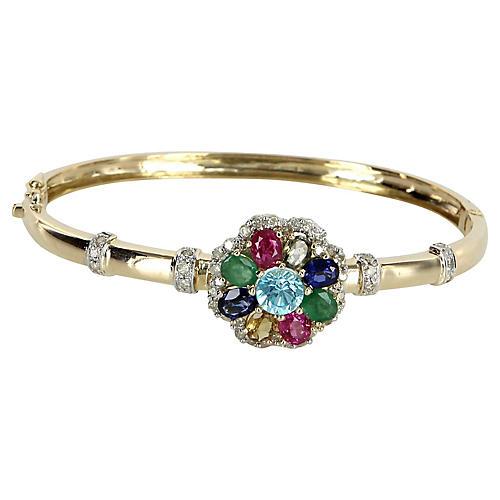 Rainbow Gemstone Diamond Bangle Bracelet