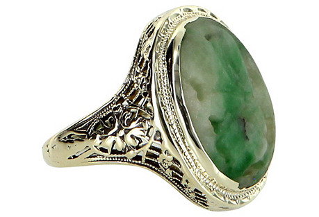 Carved Jade Filigree Cocktail Ring