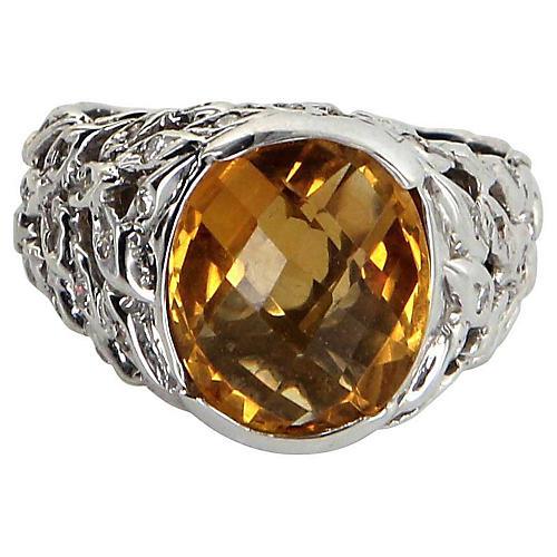 Citrine Diamond Wreath Cocktail Ring