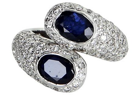 Sapphire & Diamond Bypass Ring