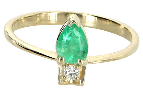Emerald & Diamond Stacking Ring