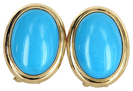14k Gold & Turquoise Cocktail Earrings