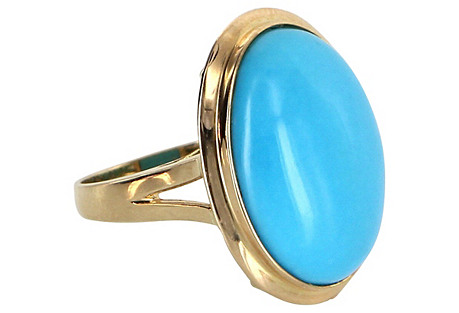 14k Gold & Turquoise Cocktail Ring
