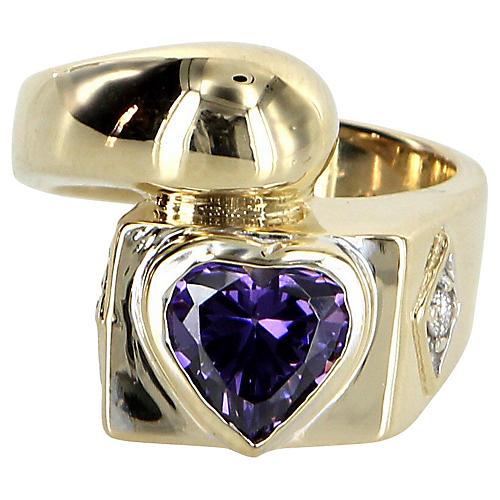 Amethyst & Diamond Heart Ring