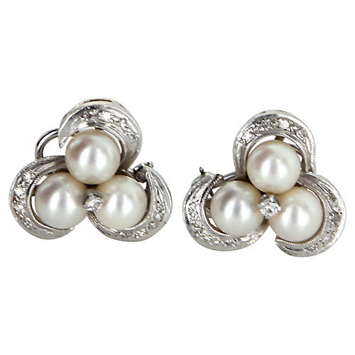Cultured Pearl Diamond Clip Earrings