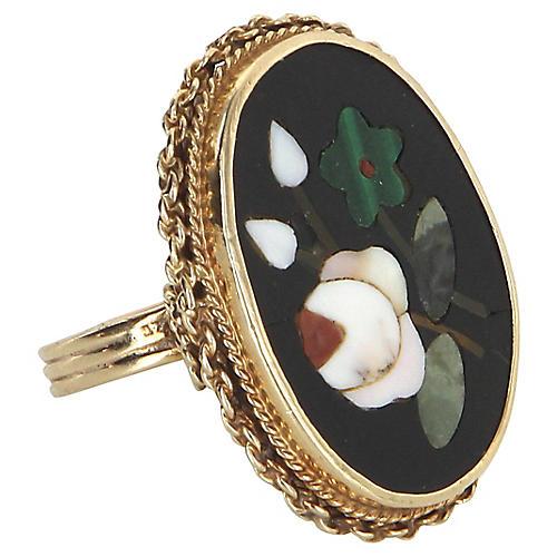 14K Gold Pietra Dura Mosaic Ring