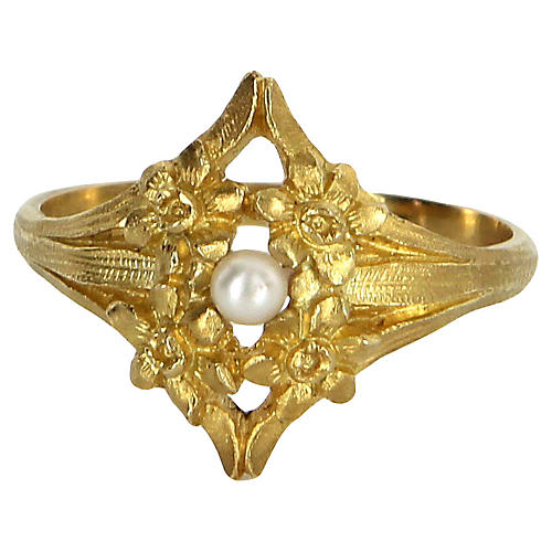 Cultured Pearl Flower Cluster Ring