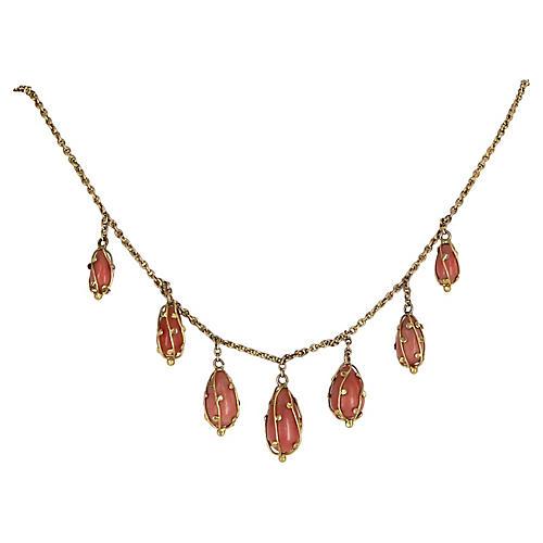 Coral Fringe Necklace 14k Gold