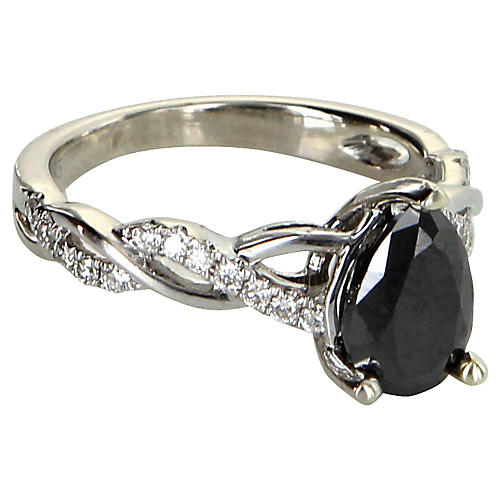 0.80ct Black Diamond Cocktail Ring