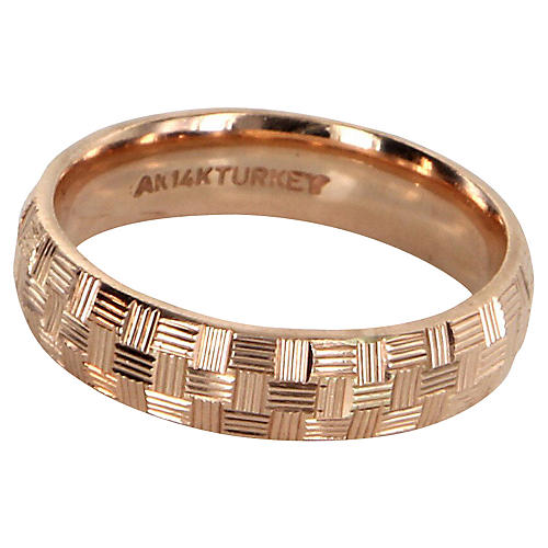 Textured 14 Karat Rose Gold Band