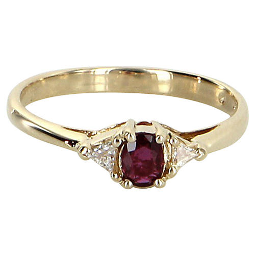 Ruby & Trillion Diamond Stacking Ring