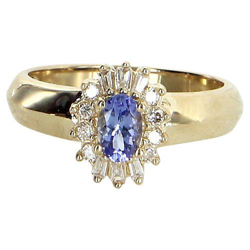 Tanzanite & Diamond Princess Ring