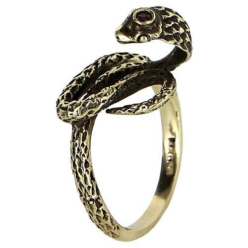 14K Gold Cobra Snake Ring