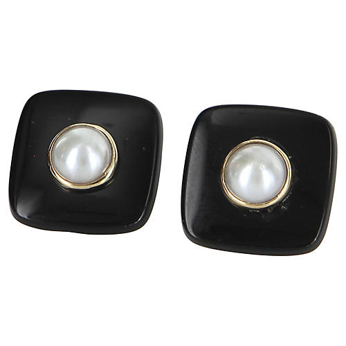 Cultured Pearl & Onyx Button Earrings