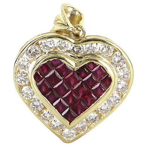 18k Gold Ruby & Diamond Heart Pendant