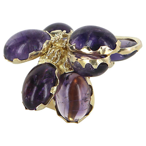 Large Amethyst Charm Ring 14k Gold
