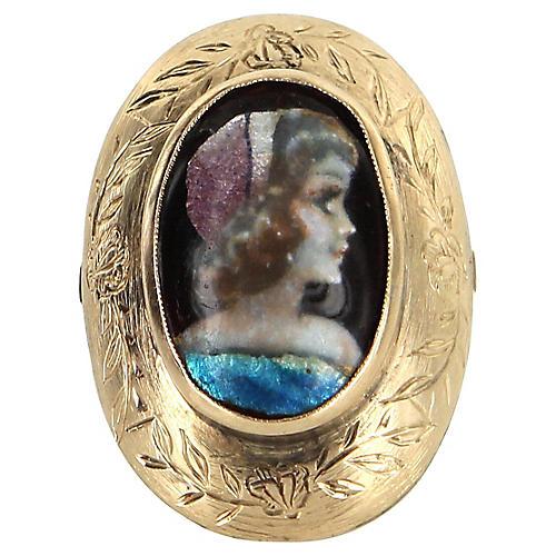 14k Gold Painted Enamel Portrait Ring