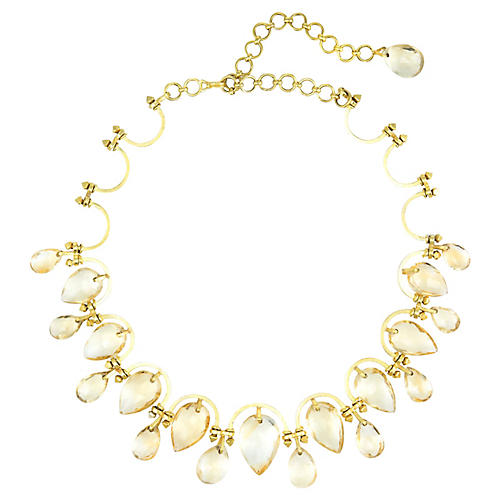 Yellow Gold Topaz Statement Necklace