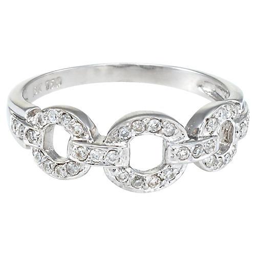18K White Gold Diamond Circle Link Ring