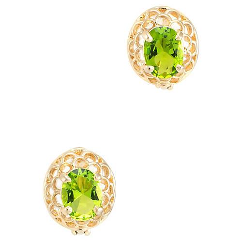 14k Yellow Gold Peridot Earrings