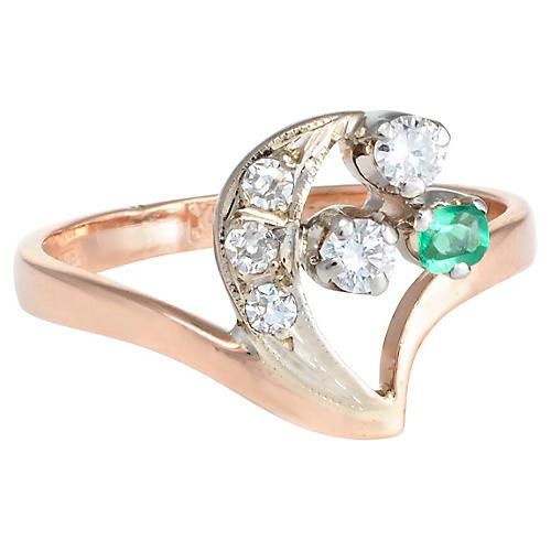 Crescent Moon Star Diamond Emerald Ring