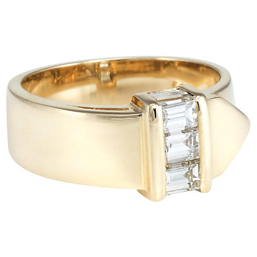 14k Gold Diamond Buckle Ring