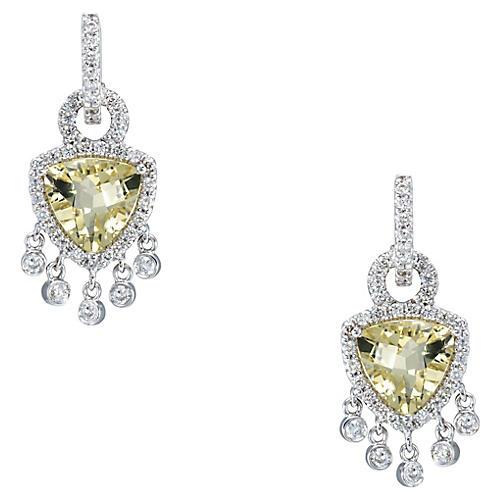 Lemon Citrine Diamond Fringe Earrings