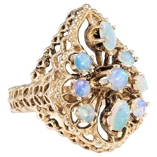 14k Gold Opal Cluster Cocktail Ring