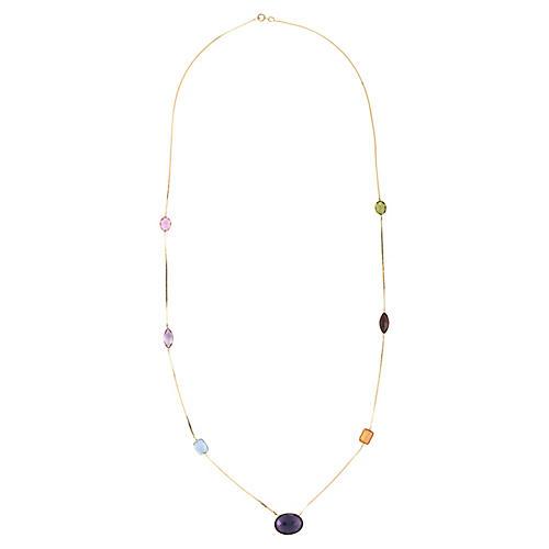 14k Rainbow Gemstone Necklace