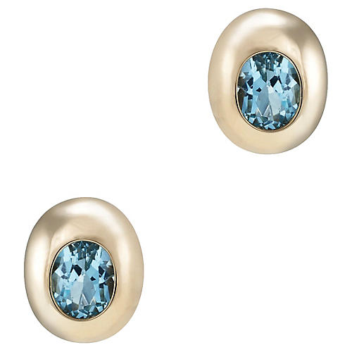 14k Gold Blue Topaz Stud Earrings