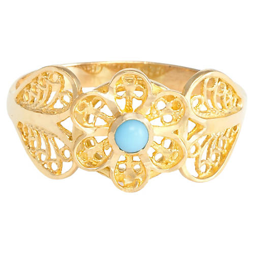 21K Gold & Persian Turquoise Ring