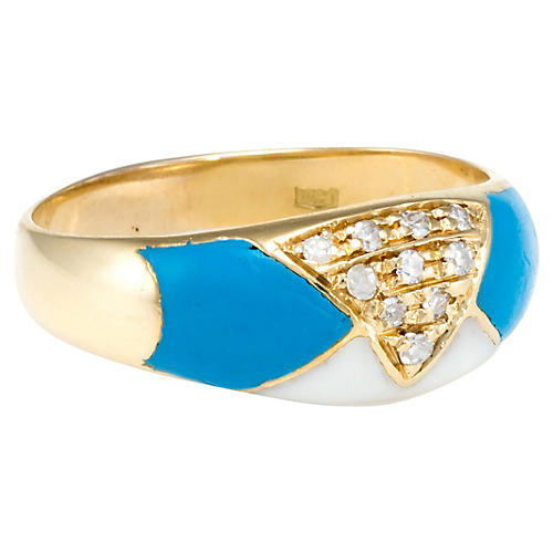 18k Gold Diamond & Enamel Band