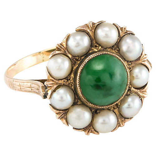 Jade & Cultured Pearl Cocktail Ring