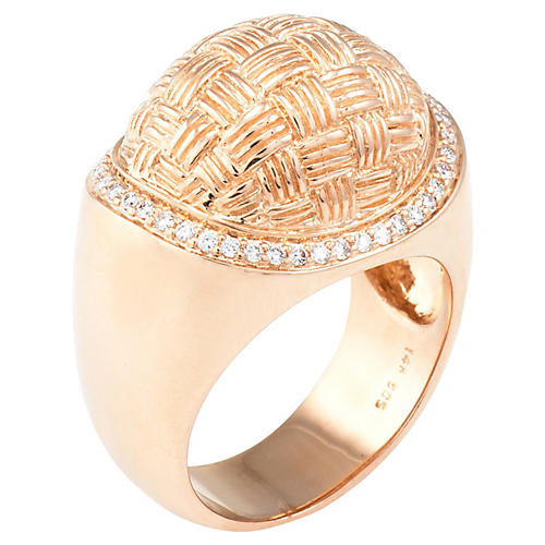Rose Gold Dome Diamond Cocktail Ring