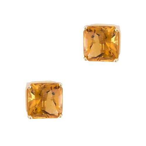 14k Gold Citrine Square Stud Earrings